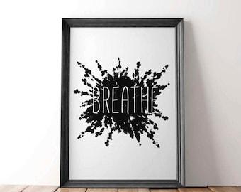 Yoga Wall Prints, Yoga Wall Poster, Yoga Breathe Art, Yoga Wall Art, Yoga Poster, Yoga Studio, Breathe Prints, Yoga Art For Bedroom