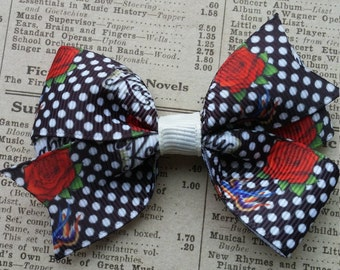 Rockabilly Hair Bow,  rose hair bow, hair accessories, party favors