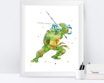 Teenage Mutant Ninja Turtles Leonardo Print Watercolor TMNT Art TMNT Poster Teenage Mutant Ninja Gift Turtles Wall Art instant Download
