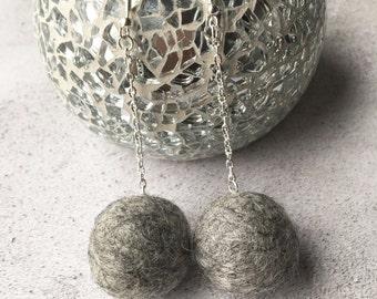 Grey felt earrings, Sterling silver, Pompom earrings, Felt Pompom Earrings, Drop Earrings, Dangle Earrings, Valentines Gift, Gift for her