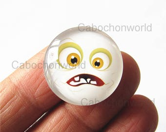 Facial Expression Cabochon Circle Handmade Photo Glass Round Dome Flat Back 8mm 10mm 12mm 14mm 16mm 18mm 20mm 25mm 30mm CW769