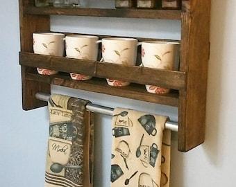 new lower price rustic kitchen shelf w hanging bar spice rack handmade