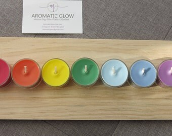 Chakra Tealight Candles, Soy Wax Candles, Natural wax, Gift idea, Seven chakra, Oil burner, Australian seller, Unsented candles