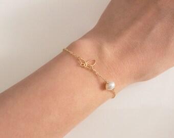 Butterfly bracelet, Butterfly chain bracelet, Insect bracelet, Insect chain bracelet, Animal Charm, Nature jewelry, Birthday gift