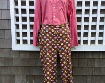 Cotton pants, retro print pants, tea party pants, straight leg pants, wide leg pants, summer pants