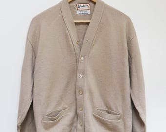 Vintage Merino Wool Sweater Cardigan Brentwood Beige Size L / Grandpa Sweater / Grandpa Cardigan / Elbow Patches