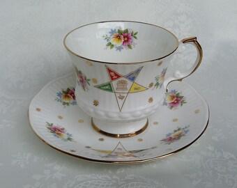 Mason Eastern Star Tea Cup and Saucer, Vintage Elizabethan Tea Cup and Saucer, English Bone China, Masons Order