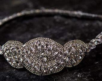 Gorgeous Gatsby Inspired Bridal Hair Band  /Wedding/Jewelled/Rhinestone/Crystal/Head Piece/Bride/Accessory/Vintage/Free Shipping/Handmade