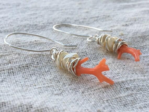 Coral earrings, red coral earrings, red coral, pink coral earrings, peach coral earrings, pearl earrings, freshwater pearl earrings
