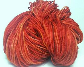 LAVA LAKE, Hand Dyed Fingering Weight Sock Yarn, Soft Merino Blend, Superwash Sock Yarn, Red Orange Yellow Yarn, Indie Sock Yarn