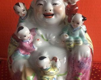 """Laughing Happy Buddha with Five Children 6"""" tall Vintage  collectible Feng Shui Good Luck Ferility"""