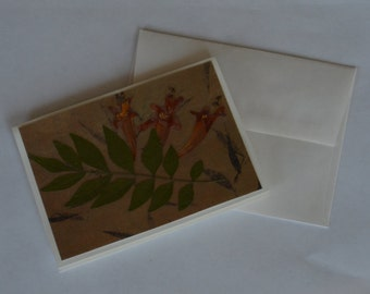 Flower Notecard with envelope - blank notecard, flower card, card with real flowers, dried flower card, greeting card, flower card