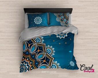 Blue Mandala Bedding Set, Redesign. Boho Style Duvet. Boho Comforter Upgrade. Bohemian Duvet Cover Set.