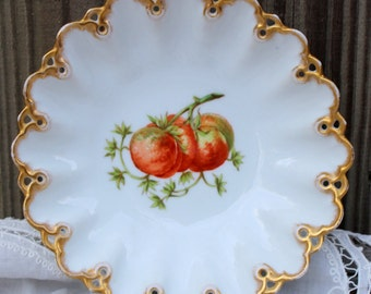 Gorgeous Tressemanes & Vogt Serving Bowl with Transfer of Peaches, Intricately Scalloped Rim with Gilt made in France