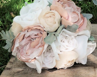 Romantic Fabric Flower Bouquet, Brooch Bouquet, Fabric Flowers, Bridesmaid Bouquet in Blush and Off-White, Keepsake, Alternative Bouquet