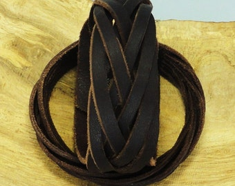 Leather bracelet. Braided leather bracelet. Mysterious braid. Leather cuff.