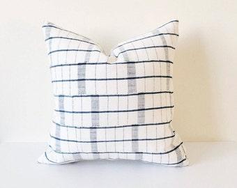16 x16 Indigo and White Grid Pattern Pillow