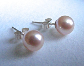 Classic Pink Round Freshwater Pearl Studs on Sterling Silver posts