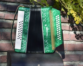 Vintage Soviet concertina, Vintage accordion player, Antique musical instrument, Concertina, Melodic concertina, Vintage harmonica