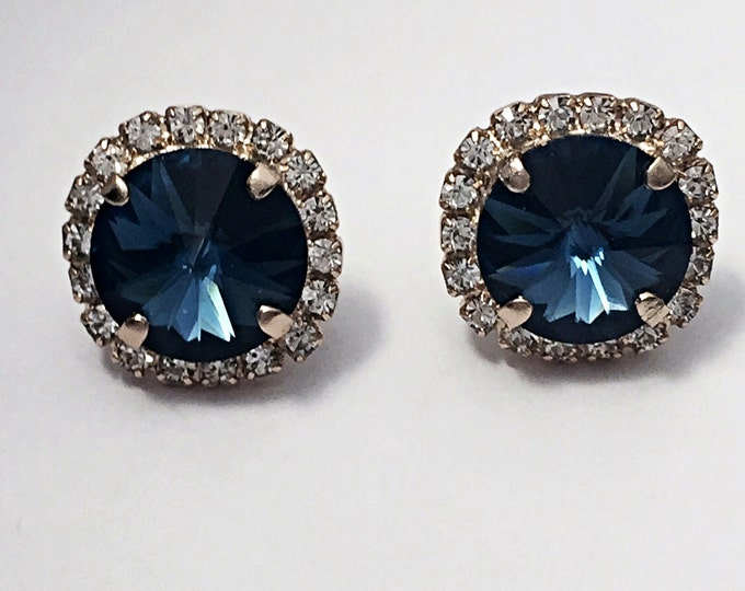 Feeling the Blues? These Stunning stud earrings with large shimmering Montana blue Swarovski crystals will make you feel fantastic!