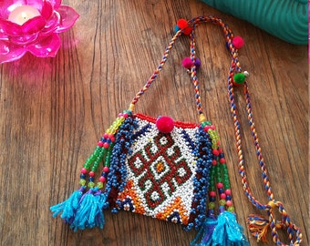 Vintage Beaded Kutchi Pouch, Up Cycled Boho Coin Purse
