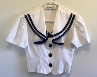Vintage 80s White & Blue Sailor-Style Crop Blouse