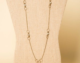 Antique Bronze Hand-Wrapped Aquamarine Chain 30-inch Chain Necklace