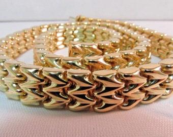 Elegant 18K Gold Designer Necklace - Reversible #744