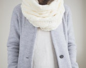 Chunky Cable Texture Knit Cowl Scarf// Premium Acrylic// Cream Colour