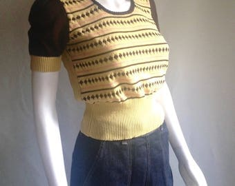 Amazing Vintage 40s Pin Up Sweater Jumper // Puff Sleeves, Diamonds & Stripes Pattern // Size Small  // VLV Swing Rockabilly