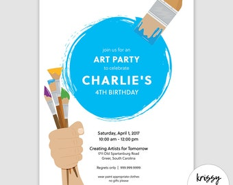 ART PARTY Invite - kid's paint party birthday invitation - can be personalized & customized for your party!
