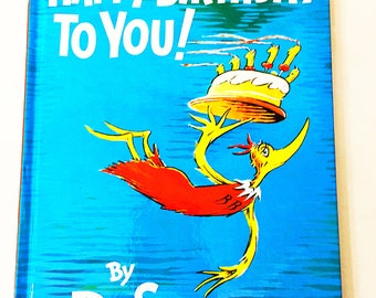 Happy Birthday to You Book.  Dr Seuss Book.  Vintage Children's Book.  Birthday Gift.  Book Lover Gift.  Random House.  Katroo