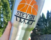 Basketball personalized 30 oz stainless steel tumbler. Coaches gift. Basketball mug. Fathers day gift. Groomsman gift.