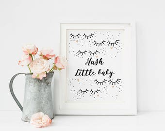 Scandinavian Nursery Wall Art, Scandinavian Print, Eyelash Print, Baby Girl Wall Art, Hush Little Baby, Baby Girl Nursery Wall Art, Lullaby