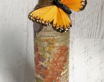 Butterfly bottle, butterfly decor