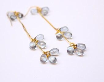 light earrings gray bridesmaid gifts grey wedding earrings grey jewelry elegant bridal earrings victorian earrings gold earrings gift w153