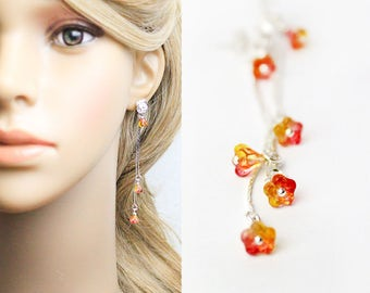 red orange earrings summer wedding jewelry flower girl earrings gifts for girls gifts for bridesmaid earrings flower stud earrings L249