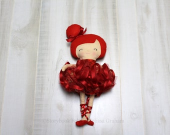 SALE Ballerina Doll, Cloth Doll, Holiday Doll, Rag Doll, Soft Doll, Baby Doll, Handmade Doll, Fabric Doll, Girl Gift, Valentine's Day