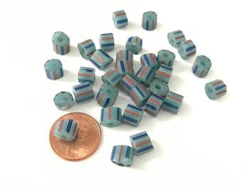 Vintage Bohemian Glass African Trade Beads Blue Striped Cane Beads