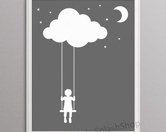 Monochrome Nursery decor Kids bedroom wall art Gender neutral Baby room poster Child silhouette Cloud Swings Whimsical art Digital download