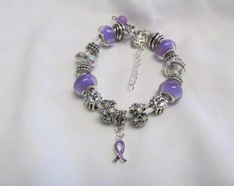 Pandora Like, Purple Pancreatic Cancer Charm Bracelet #724