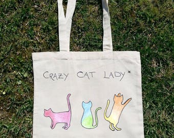 Crazy Cat Lady, Lovets Cats More Than Life, Cat Bag, Animal Bag, Summer Bag, Beach Bag, Tote Bag, Shopping Bag, Shoulder Bag, Woman Bag