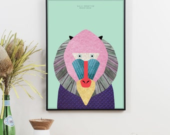 Mandrill Monkey Graphic Print (Mint)