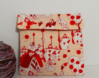 Circular Needle Case or Notions case for Knitting/ Crochet/ Fiber Arts/ Sewing; Alice in Wonderland/ Queen of Hearts