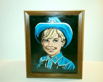 Vintage Cowboy Little Boy Paint by Numbers Painting