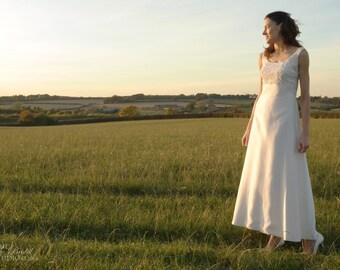Vintage 1950's Wedding Dress / Elegant Ivory Raw Silk Lace Bodice American Vintage 50's Wedding Gown