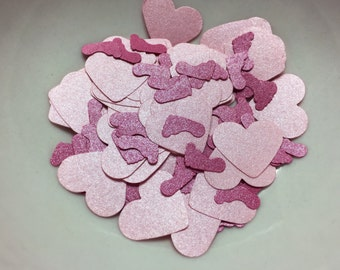 Light Pink Metallic Hearts and Hot Pink Footprints. Baby Shower Confetti. Baby Shower Table Decorations. It's a Girl.