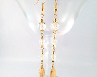 """Golden earrings """"Crystal of chestnut"""""""