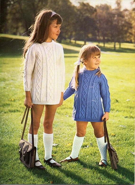 girls aran dress knitting pattern PDF childs aran dress cable