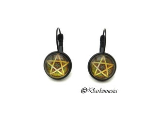 Earrings, black, cabochon, pentagram, pentacle, goth, gothic, wicca, pagan, witch, witchcraft